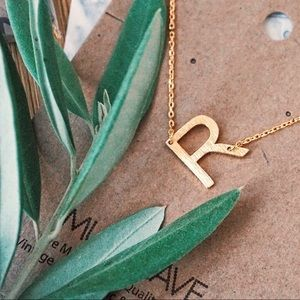 Jewelry - Letter R Initial Sideways Gold Dainty Necklace